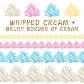picture of whipping  - Whipped cream and border colorful brush - JPG