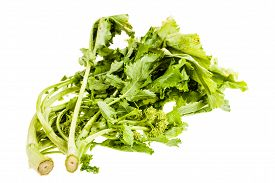 stock photo of turnip greens  - a heap of turnip greens isolated over a white background - JPG