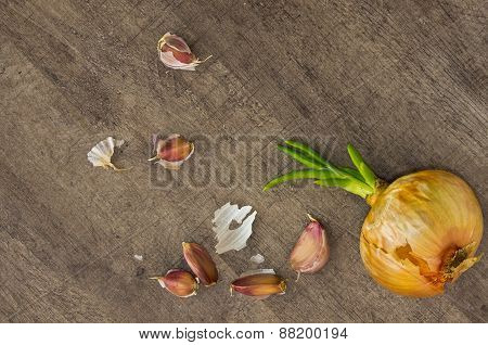 onion and garlic cloves