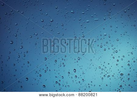 Glass With Rain Drops.