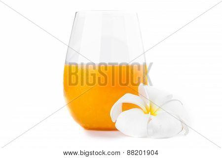 Freshly Squeezed Orange Juice With Glass On White Background.