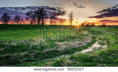 Dramatic Countryside Sunrise Sunset