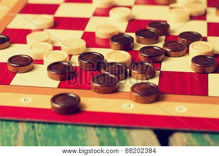 Vintage Retro Photo Of Stones For Game Of Checkers