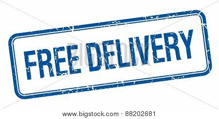 Free Delivery Blue Square Grungy Vintage Isolated Stamp