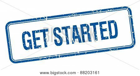 Get Started Blue Square Grungy Vintage Isolated Stamp