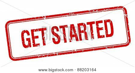 Get Started Red Square Grungy Vintage Isolated Stamp