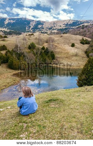 Woman Looking At A Beautiful Landscape In The Catalan Pyrenees