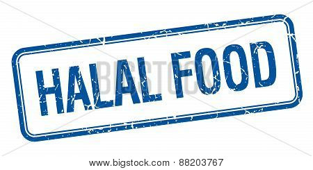 Halal Food Blue Square Grungy Vintage Isolated Stamp