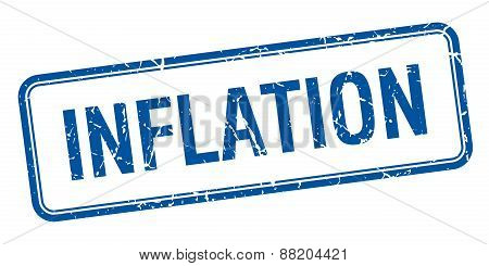 Inflation Blue Square Grungy Vintage Isolated Stamp