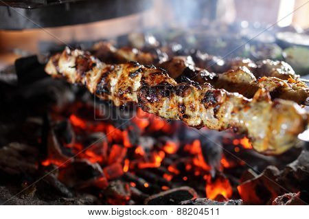 Skewers With Meat On The Grill