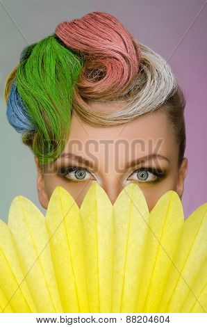 Portrait Of Charming Woman With Colorful Makeup