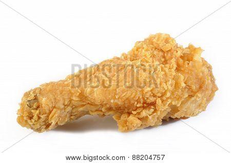 Fried Chicken Drumstick On White Background