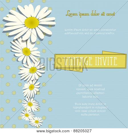 Invite Vintage With Chamomile Flowers And Sample Text