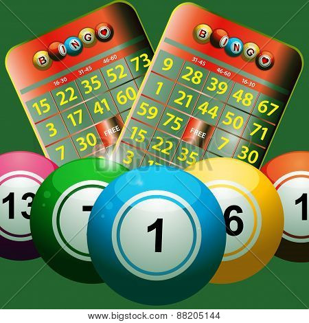 New Bingo Cards And Bingo Balls On Green Background