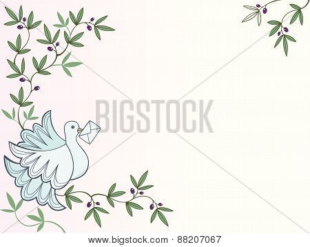 Dove with letter sitting on an olive tree background