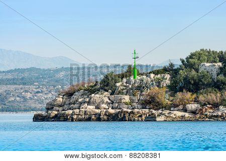 Green Beacon On Island