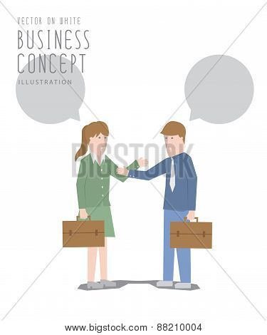 Businessman Talking With Businesswoman Flat Vector.