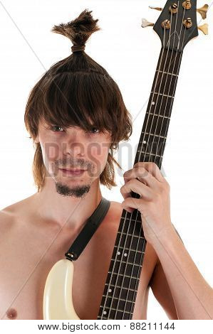 portrait man with funny haircut and guitar