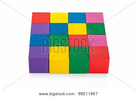 Colorful 4*4 Square Of Wooden Toy Cubes Isolated On White