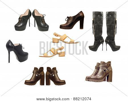 Set Of Varios Woman Shoes.isolated.