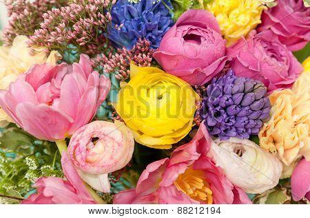 Amazing Colorful Bouquet Closeup .