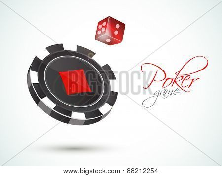 3D Casino chip with red dice for Poker Game on shiny background.