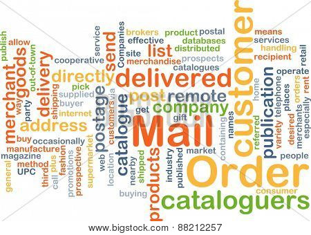 Background text pattern concept wordcloud illustration of mail order