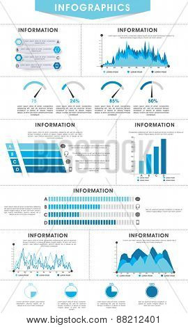 Creative business infographics layout with different statistical bars and graphs.