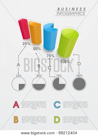 Colorful 3D coloumns or bars infographics for your business data presentation on grey background.