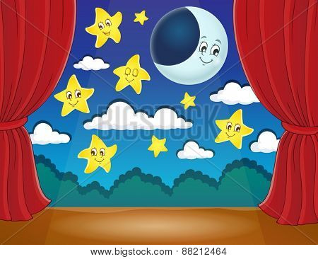 Stage with happy stars and moon - eps10 vector illustration.