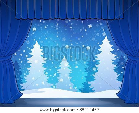Stage with winter theme 2 - eps10 vector illustration.