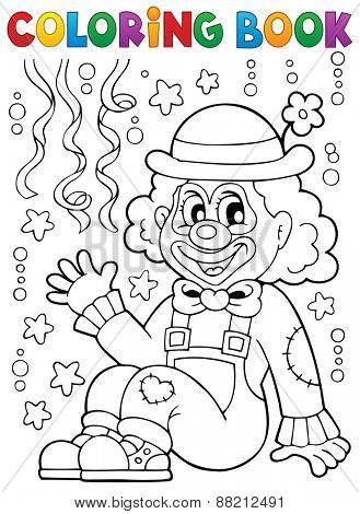 Coloring book with cheerful clown 4 - eps10 vector illustration.