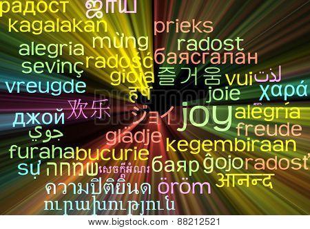 Background concept wordcloud multilanguage international many language illustration of joy glowing light