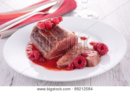 roast duck with berry sauce