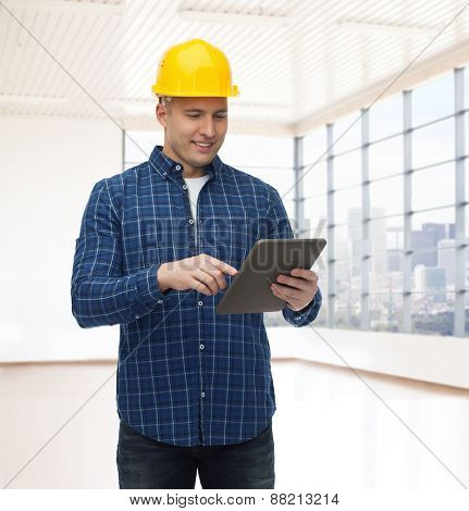 repair, construction, building, people and maintenance concept - smiling male builder or manual worker in helmet with tablet pc computer over empty flat background