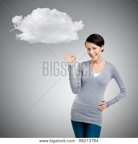Okay gesture and cloud, isolated on grey background