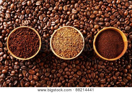 Various of roasted coffee, top view