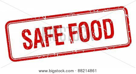 Safe Food Red Square Grungy Vintage Isolated Stamp