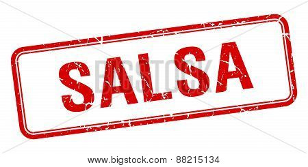 Salsa Red Square Grungy Vintage Isolated Stamp