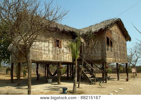 Typical bungalow architecture in the ecuadorian coastal region, Santa Elena province.