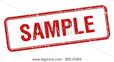 Sample Red Square Grungy Vintage Isolated Stamp