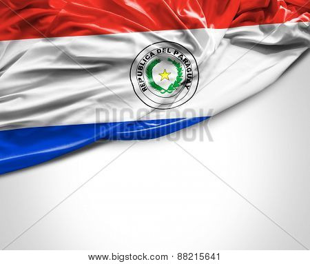 Paraguayan waving flag on white background