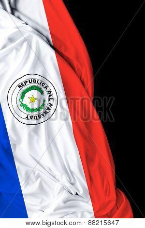 Paraguayan waving flag on black background