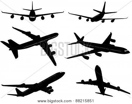 big commercial airplane silhouettes