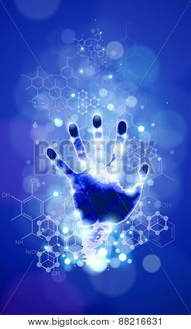 handprint, blue background, lights and chemical formulas
