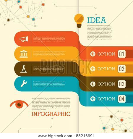 Modern info graphic with colorful elements. Vector illustration.