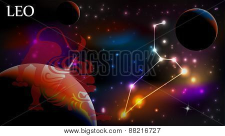 Leo - Space Scene with Astrological Sign and copy space