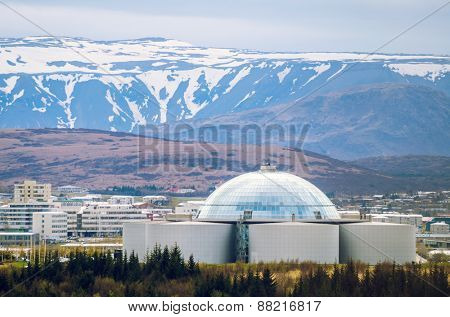 View of Perlan, water reservoir and restaurant in Reykjavik, Iceland