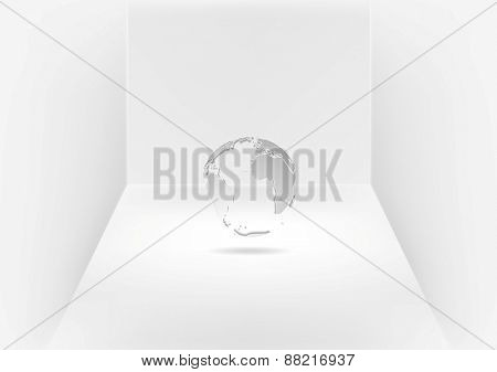 Grey globe in room. Vector design