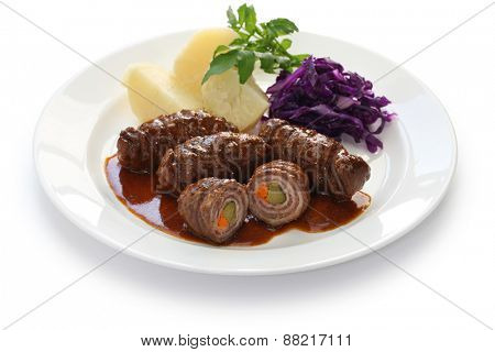 rouladen, beef olive, german beef roll isolated on white background